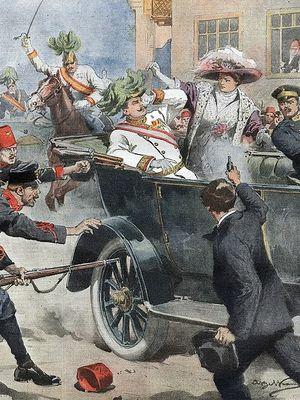 Ilustrasi pembunuhan Franz Ferdinand yang menjadi halaman depan koran Italia Domenica del Corriere.