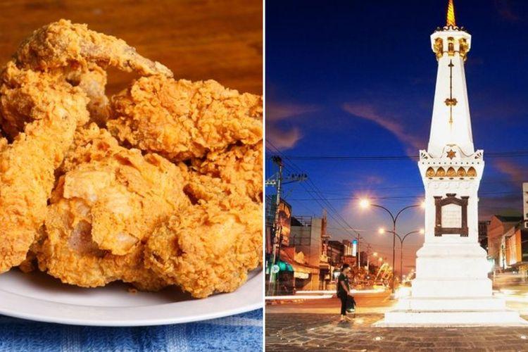 Ilustrasi ayam goreng dan wisata Yogyakarta