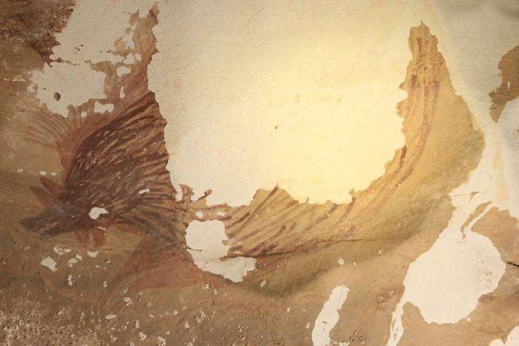 Lukisan babi di Sulawesi yang merupakan lukisan gua tertua di dunia. Perlahan lukisan cadas tersebut mengalami kerusakan akibat perubahan iklim.
