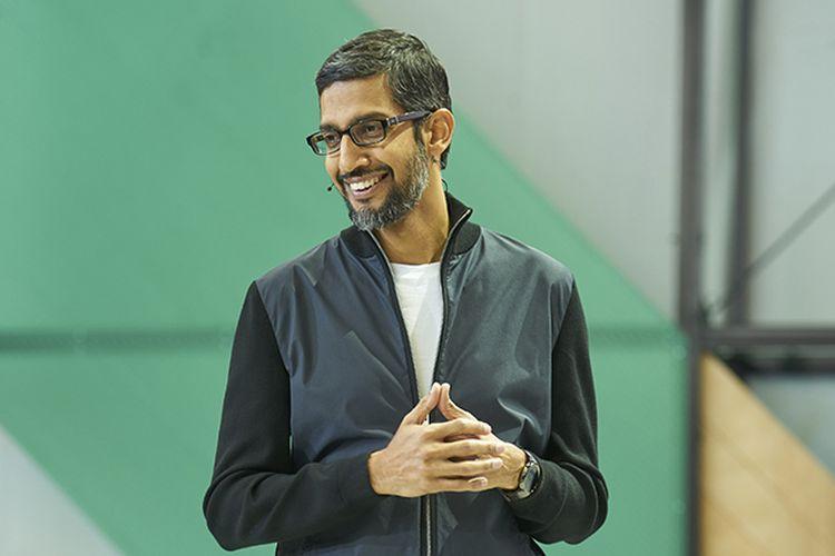 CEO Google, Sundar Pichai, Rabu (17/5/2017), saat menjadi spekaer pada keynote utama Google I/O 2017 di Shoreline Amphitheatre, AS.
