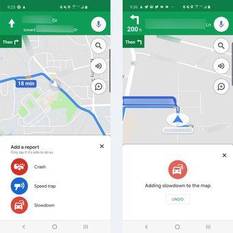 Fitur untuk melaporkan kemacetan di Google Maps
