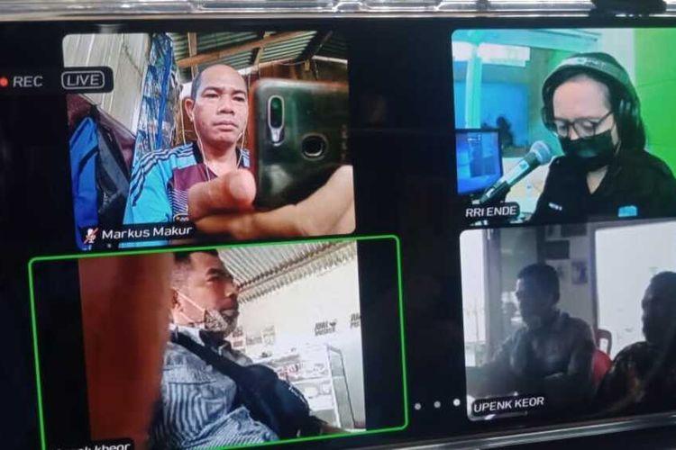 Radio Republik Indonesia Ende siaran langsung dengan aplikasi zoom dengan Bapak Siprianus Dua Dawa, seorang difabel dari Kampung Wodong, Desa Goreng Meni Utara, Kecamatan Lamba Leda, Kabupaten Manggarai Timur, NTT, Sabtu, (26/6/2021). (KOMPAS.com/MARKUS MAKUR)