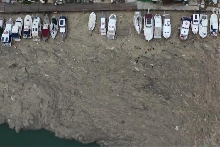 Pantai di Laut Marmara, Turki yang dipenuhi ingus laut. [SS/YOUTUBE/THE GUARDIAN]