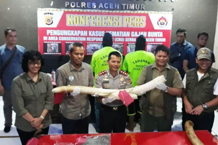Polisi memperlihatkan gading gajah dan dua tersangka pelaku pembunuhan gajah Bunta di Mapolres Aceh Timur, Rabu (4/7/2018)