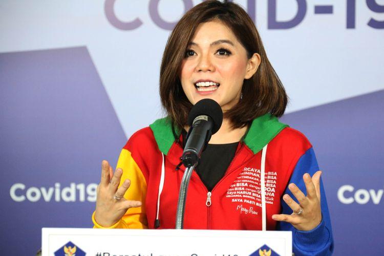 Motivator Merry Riana saat jumpa pers di Graha BNPB, Jakarta, Senin (20/4/2020).