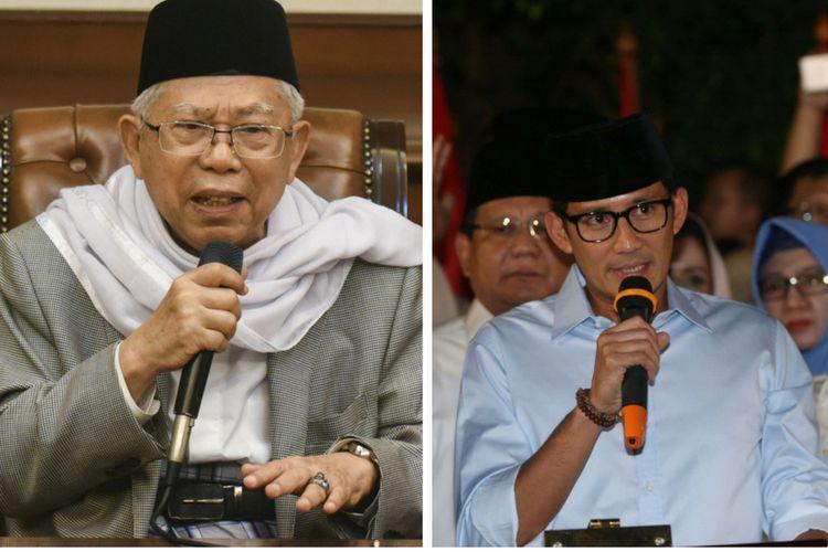 Maruf Amin (kiri) terpilih menjadi Calon Wakil Presiden Joko Widodo dan Sandiaga Uno yang menjadi Calon Wakil Presiden Prabowo Subianto, Kamis (9/8/2018). (Credit foto Maruf Amin: ANTARA FOTO/HAFIDZ MUBARAK A, Credit foto Sandiaga: KOMPAS/ANDREAS LUKAS ALTOBELI)