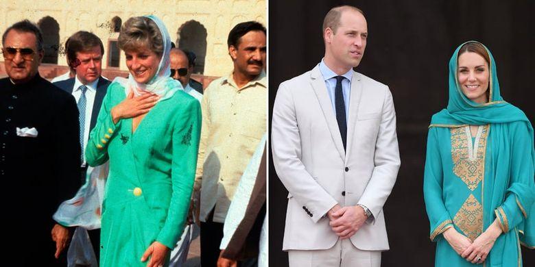Busana tertutup berwarna hijau yang dipakai Kate Middleton mirip dengan busana mendiang ibu mertuanya, Putri Diana.