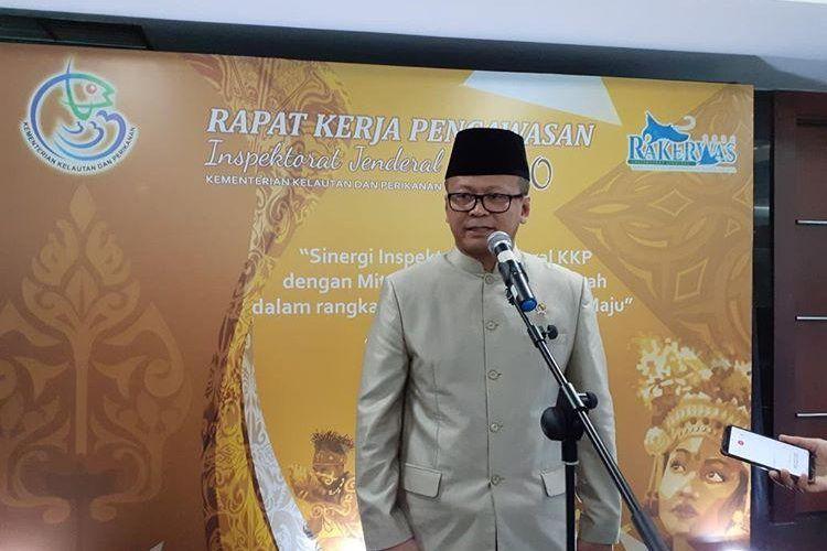Menteri Kelautan dan Perikanan KKP Edhy Prabowo usai membuka Rapat Kerja Pengawasan 2020 di Gedung Mina Bahari III Jakarta, Selasa (4/2/2020).