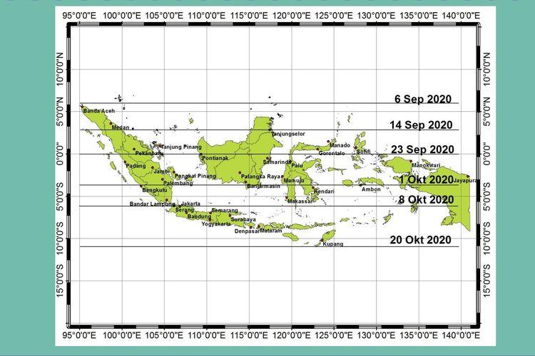 Waktu kulminasi utama 2 di Indonesia tahun 2020