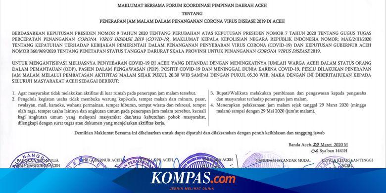 Selama 2 Bulan Pemerintah Aceh Berlakukan Jam Malam Cegah Penyebaran Corona