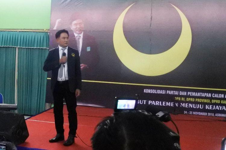 Ketua Umum PBB Yusril Ihza Mahendra menghadiri konsolidasi partai dan pemantapan Caleg PBB se-Jatim di Asrama Haji Surabaya, Sabtu (24/11/2018).