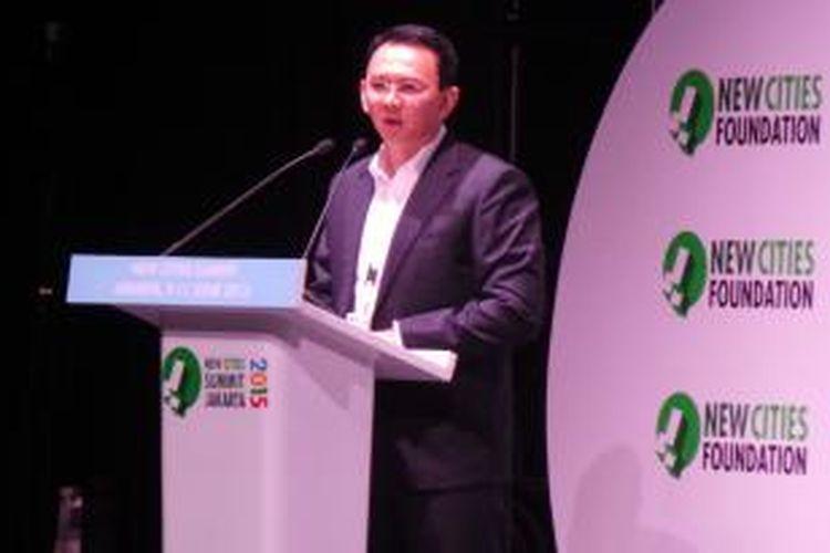 Gubernur DKI Jakarta Basuki Tjahaja Purnama saat membuka forum diskusi New Cities Summit, di Ciputra Artpreneur, Jakarta, Selasa (9/6/2015).