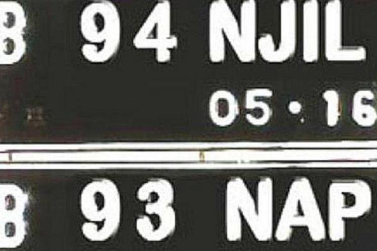 Ilustrasi tanda nomor kendaraan