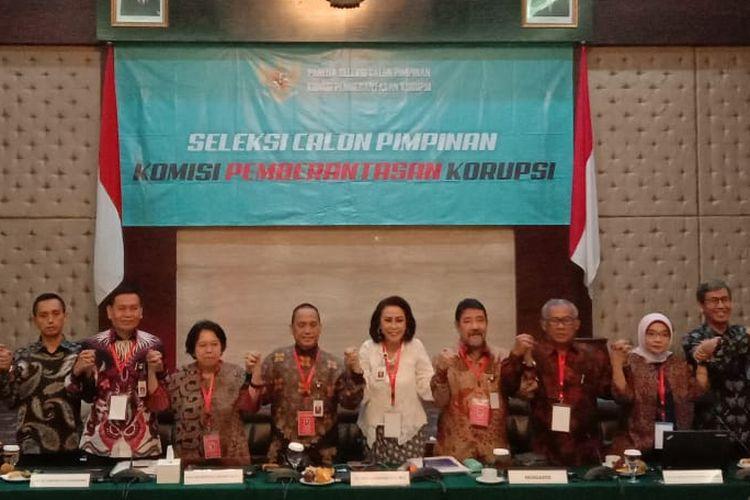 Panitia Seleksi Calon Pimpinan Komisi Pemberantasan Korupsi (KPK) periode 2019-2023 sesuai tes wawancara dan uji publik di Kementerian Sekretariat Negara, Jakarta Pusat, Kamis (29/8/2019).