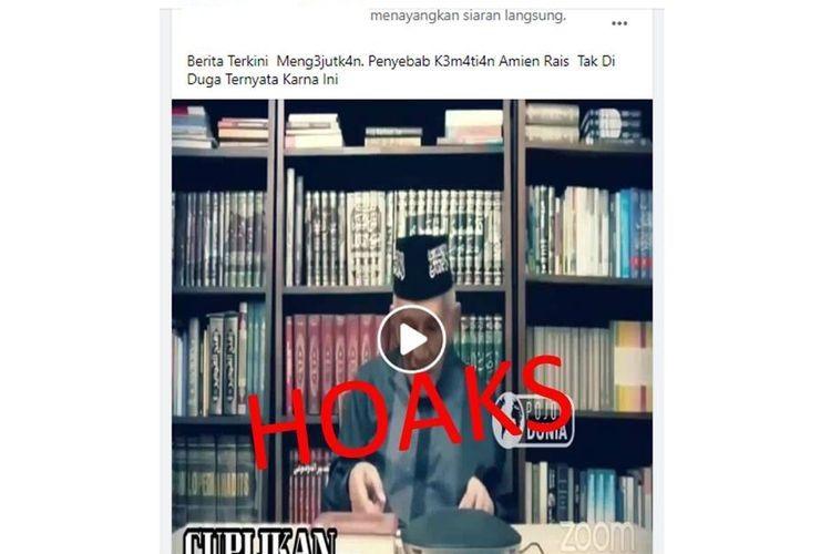 Tangkapan layar informasi hoaks Amien Rais meninggal dunia.
