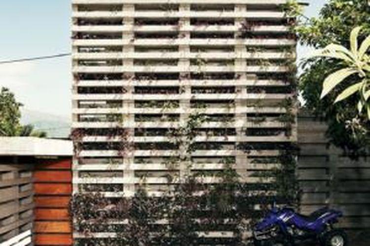 Pentimento terdiri dari ratusan modul beton identik yang ditumpuk.