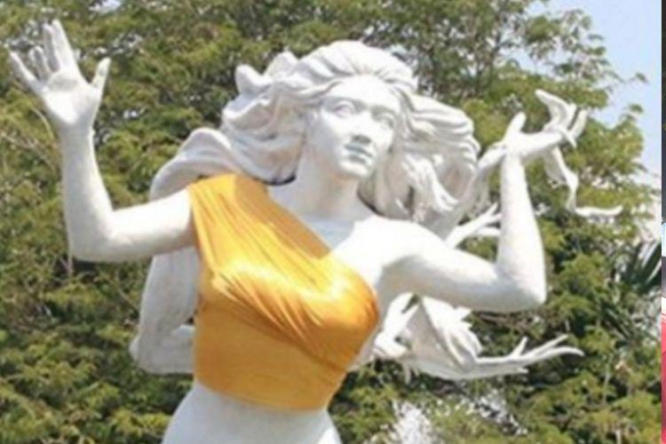 Patung putri duyung Ancol yang dipakaikan kain berwarna emas