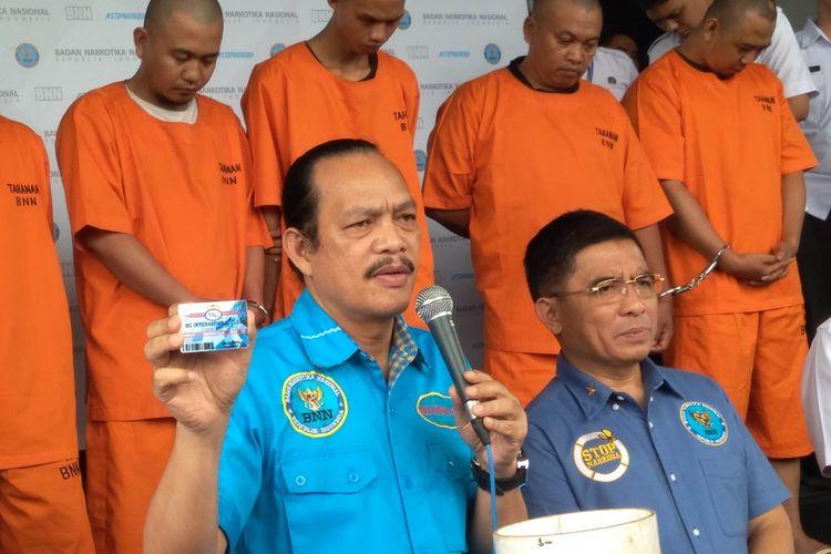 Deputi Pemberantasan Badan Narkotika Nasional (BNN) Irjen Arman Depari, mengunkapkan peredaran narkoba cair di MG Club,Jakarta (21/12/2017)