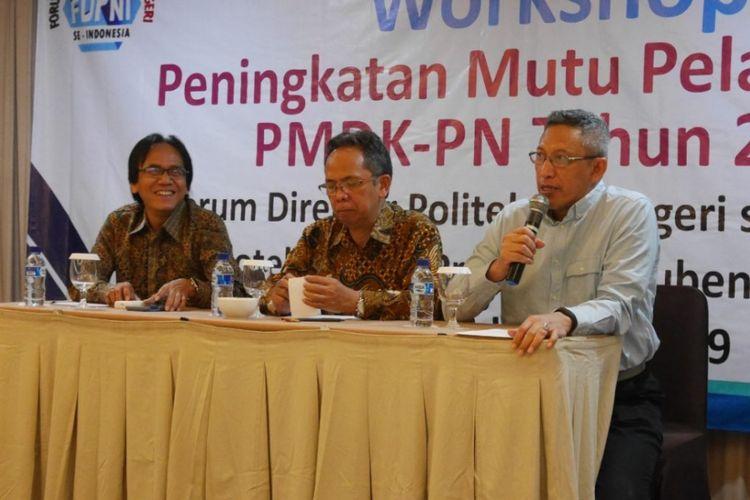 Forum Direktur Politeknik Negeri se-Indonesia (FDPNI) menyelenggarakan Workshop Peningkatan Mutu Pelaksanaan Seleksi Penelusuran Minat dan Kemampuan Politeknik Nasional (PMDK-PN) Tahun 2019 pada Kamis (17/1/2019) di Hall Airlangga Santika, Surabaya.