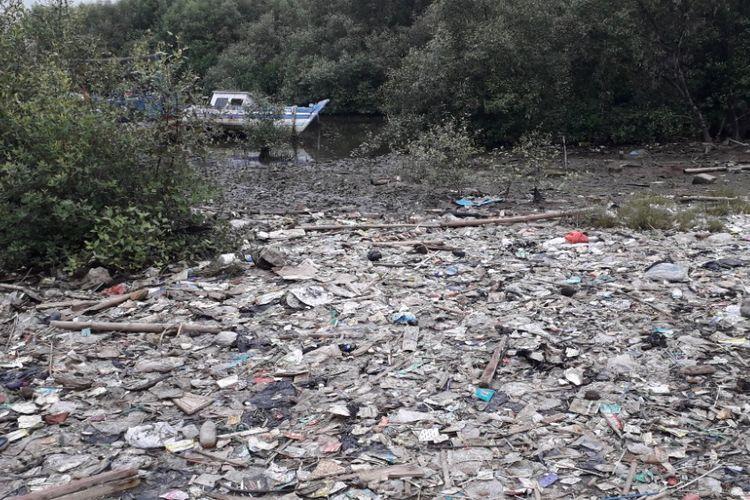 Hamparan sampah kiriman mengotori hutan mangrove yang berada di dekat komplek Rusun Marunda, Jakarta Utara, Selasa (11/12/2018).