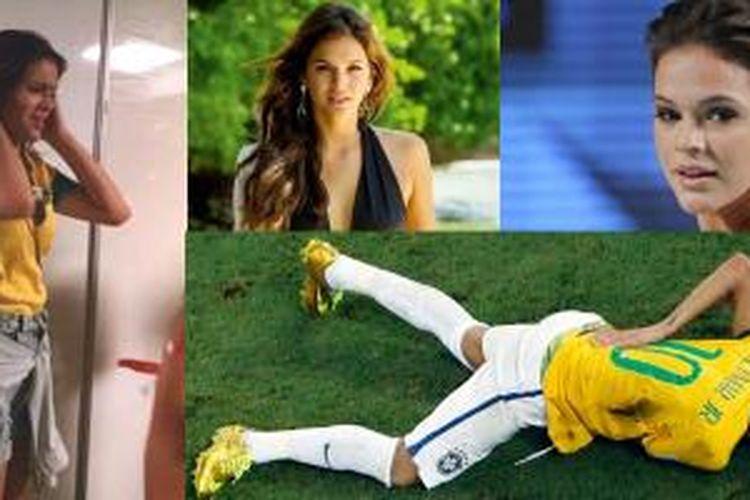 Kekasih pemain Brasil Neymar, Bruna Marquezine histeris melihat kekasihnya meraung-raung kesakitan di tengah lapangan.