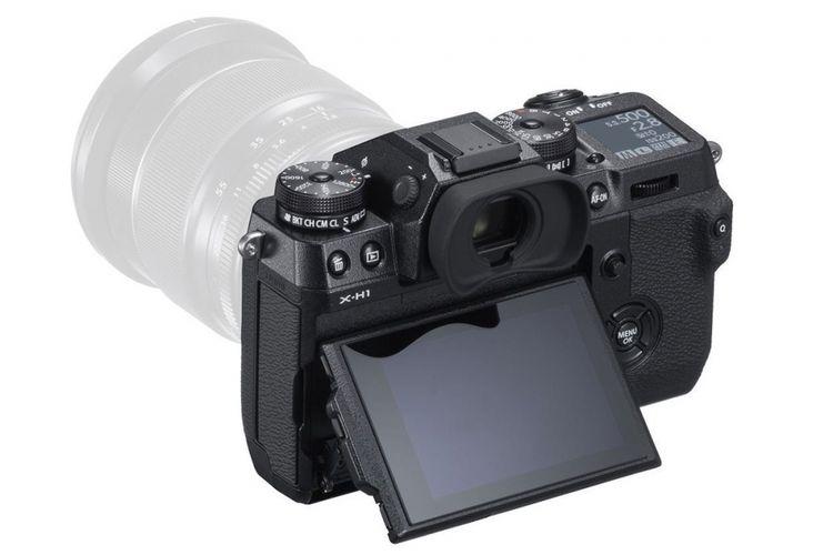 Fujifilm X-H1, tampak belakang.