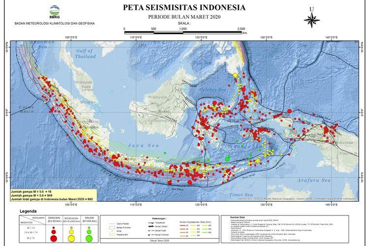 Peta sebaran gempa selama Maret 2020 di Indonesia. Menurut BMKG, terdapat 965 kali guncangan gempa selama Maret 2020 di Indonesia.