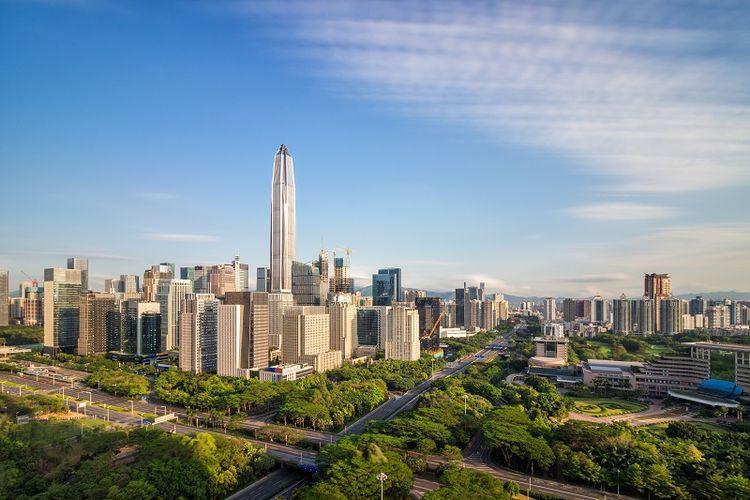 Pemandangan pusat kota Shenzhen, China.