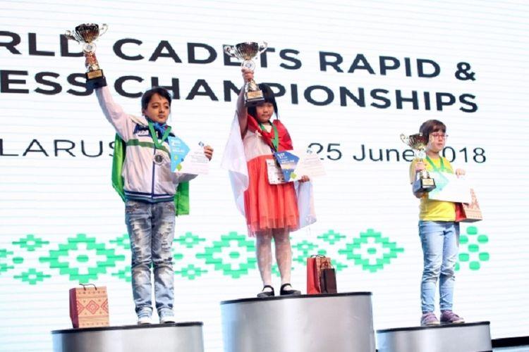 Pecatur cilik Indonesia, Samantha Edithso, menjadi juara dunia catur U-10 di Belarus, 25 Juni 2018.
