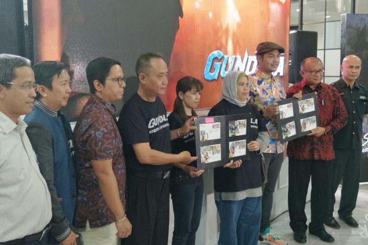 Jumpa pers peluncuran prangko jagoan Indonesia di Gedung Filateli, Jakarta Pusat, Kamis (4/4/2019).