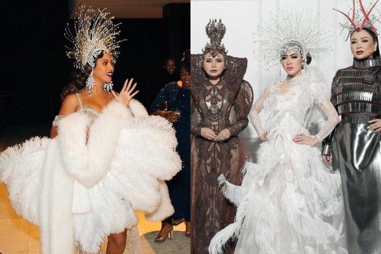 Beyonce dan Syahrini mengenakan hiasan kepala atau headpiece rancangan Rinaldy A Yunardi.