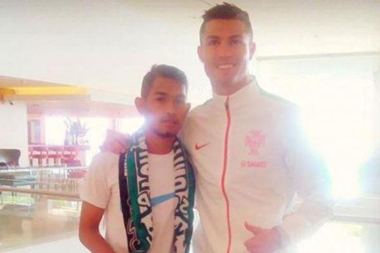 Martunis bertemu Cristiano Ronaldo di hotel tim nasional Portugal pada Rabu (2/9/2015).