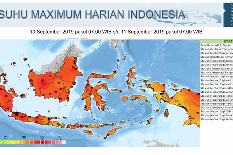 Peta suhu maximum harian Indonesia 10 September 2019(BMKG)