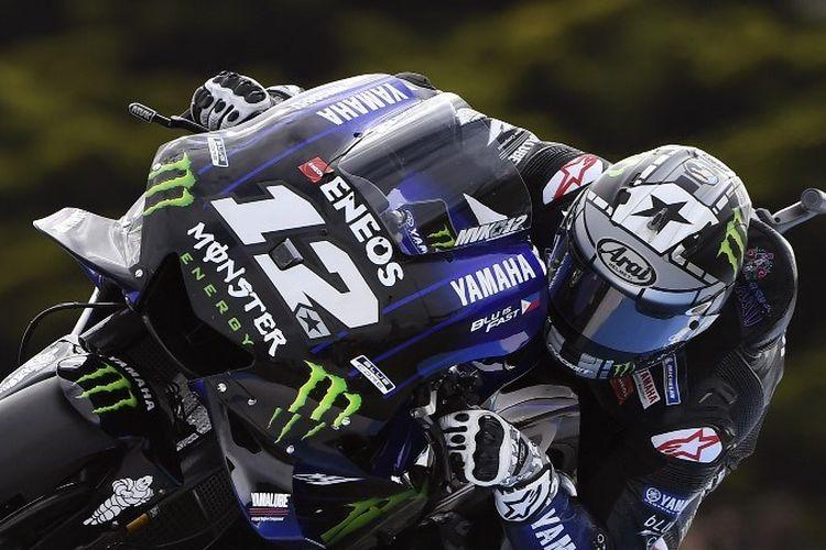Maverick Vinales menjajal Sirkuit Phillip Island pada latihan bebas MotoGP Australia 2019, 27 Oktober 2019.