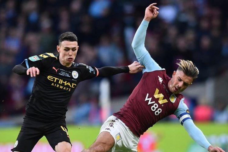 Phil Foden kala melakoni partai puncak Piala Liga Inggris kontra Aston Villa, Minggu (1/3/2020).