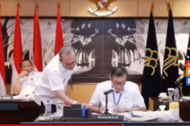 Tangkapan layar rapat kerja Menkumham dan Komisi III, Rabu (1/4/2020).