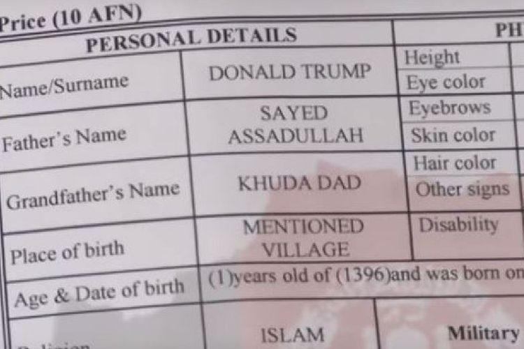 Inilah akta yang memperlihatkan nama Donald Trump. Seorang bayi berusia 18 bulan asal Afghanistan.