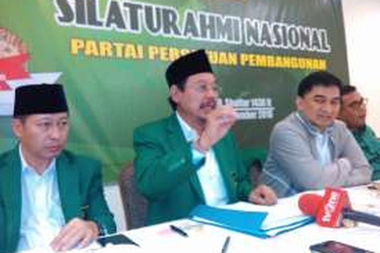 Ketua Umum PPP Djan Faridz saat jumpa pers di Silaturahmi Nasional PPP di Kantor DPP PPP Jakarta