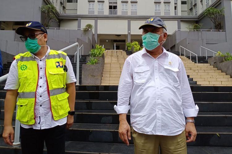 Menteri PUPR Basuki Hadimuljono di Tower 7 Wisma Atlet Kemayoran, Minggu (22/3/2020).