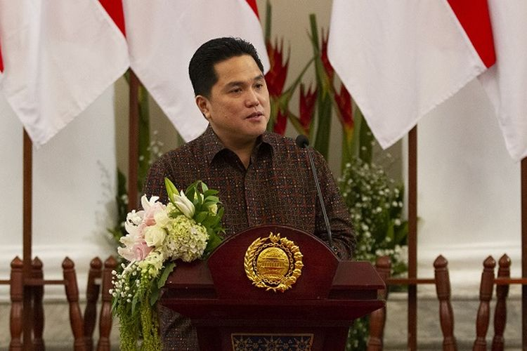 A file photo of State-Owned Enterprises Minister Erick Thohir who is also the chief executive of the newly established Covid-19 Handling and National Economic Recovery Committee delivering his speech at an event dated July 17, 2020.