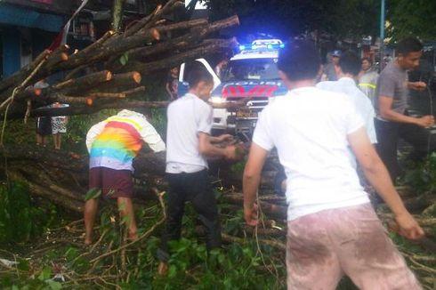 Pohon dan Papan Iklan Tumbang Diterjang Angin