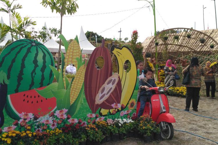 Sejumlah pengunjung berfoto di sudut yang disediakan panitia penyelenggara Banyuwangi Agro Expo 2017.