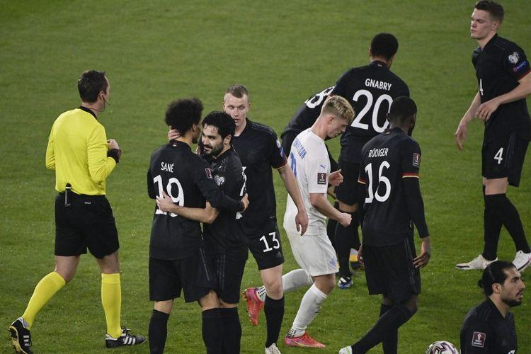 Para pemain timnas Jerman merayakan kemenangan 3-0 atas Islandia di laga Kualifikasi Piala Dunia 2022 yang berlangsung di Duisburg, Jerman, pada Jumat (26/3/2021) dini hari WIB.