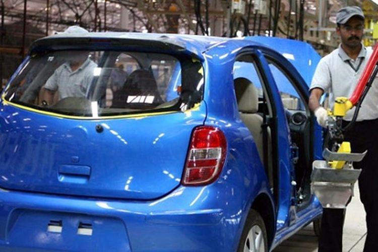 Pabrik Nissan di India memproduksi Micra (Marc).