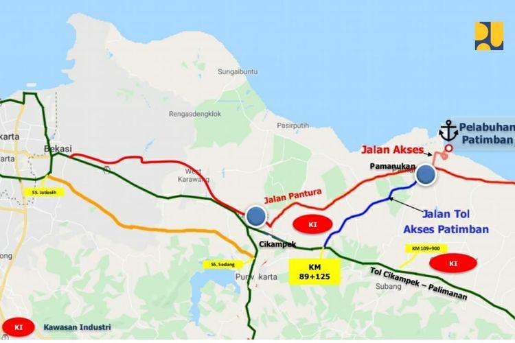 Jalan Akses Pelabuhan Patimban sepanjang 8,2 kilometer siap dilintasi dan melayani arus logistik pada Oktober 2020.