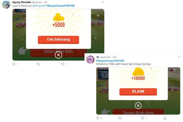 Screen capture akun @oboxss dan @ushsnh yang berhasil mendapatkan koin Shopee.