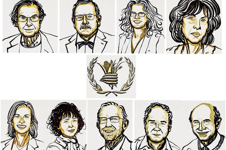 Kolase foto penerima Nobel Fisika, Kimia, Kedokteran, Perdamaian, dan Sastra 2020.