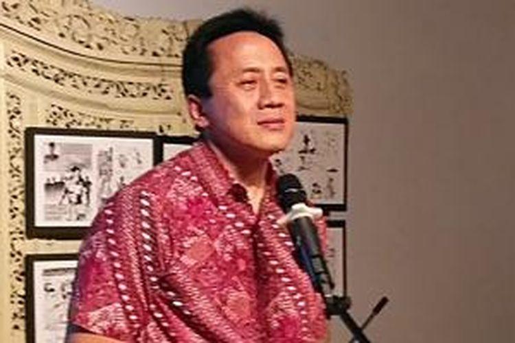 Kepala Badan Ekonomi Kreatif Triawan Munaf membuka pameran Retrospektof Komik Indie di Bentara Budaya, Jalan Palmerah Selatan, Jakarta Pusat, Kamis (7/5/2015) malam.