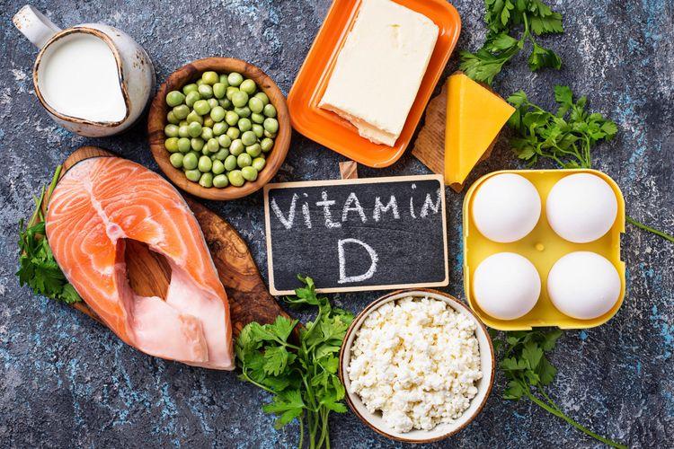 Ilustrasi makanan yang menjadi sumber vitamin D.