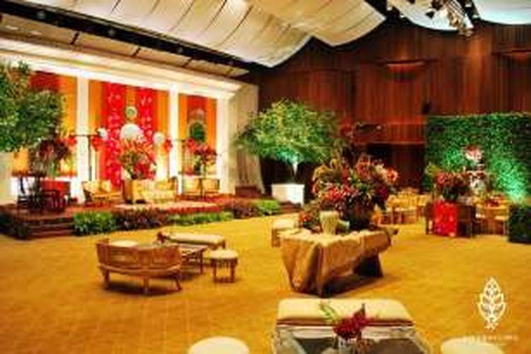 Salah satu tampilan dekorasi untuk resepsi pernikahan di Soehanna Hall, Gedung The Energy, di kawasan SCBD Jakarta